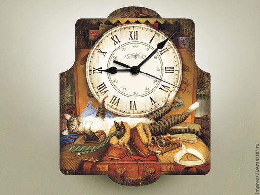 Часы для дома ручной работы. Ярмарка Мастеров - ручная работа. Купить часы настенные Кот Ученый. Handmade. Часы