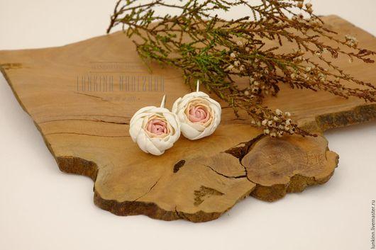 Серьги ручной работы. Ярмарка Мастеров - ручная работа. Купить Серьги пионы. Handmade. Бледно-розовый, розовый цветок, для фотосессий