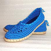 Обувь ручной работы. Ярмарка Мастеров - ручная работа Балетки вязаные Helen, синий, хлопок. Handmade.