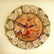 """Для дома и интерьера ручной работы. Ярмарка Мастеров - ручная работа Часы """"Мишка в розах"""". Handmade."""
