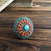 """Массивный перстень в непальском стиле """"Краски лета""""."""