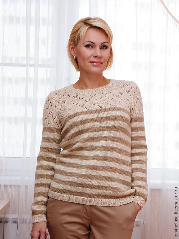 пуловер в полоску спицами схема