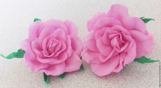 """Заколки ручной работы. Ярмарка Мастеров - ручная работа. Купить Резинка """"Роза из фоамирана""""2 шт.. Handmade. Розовый, свадебное украшение"""