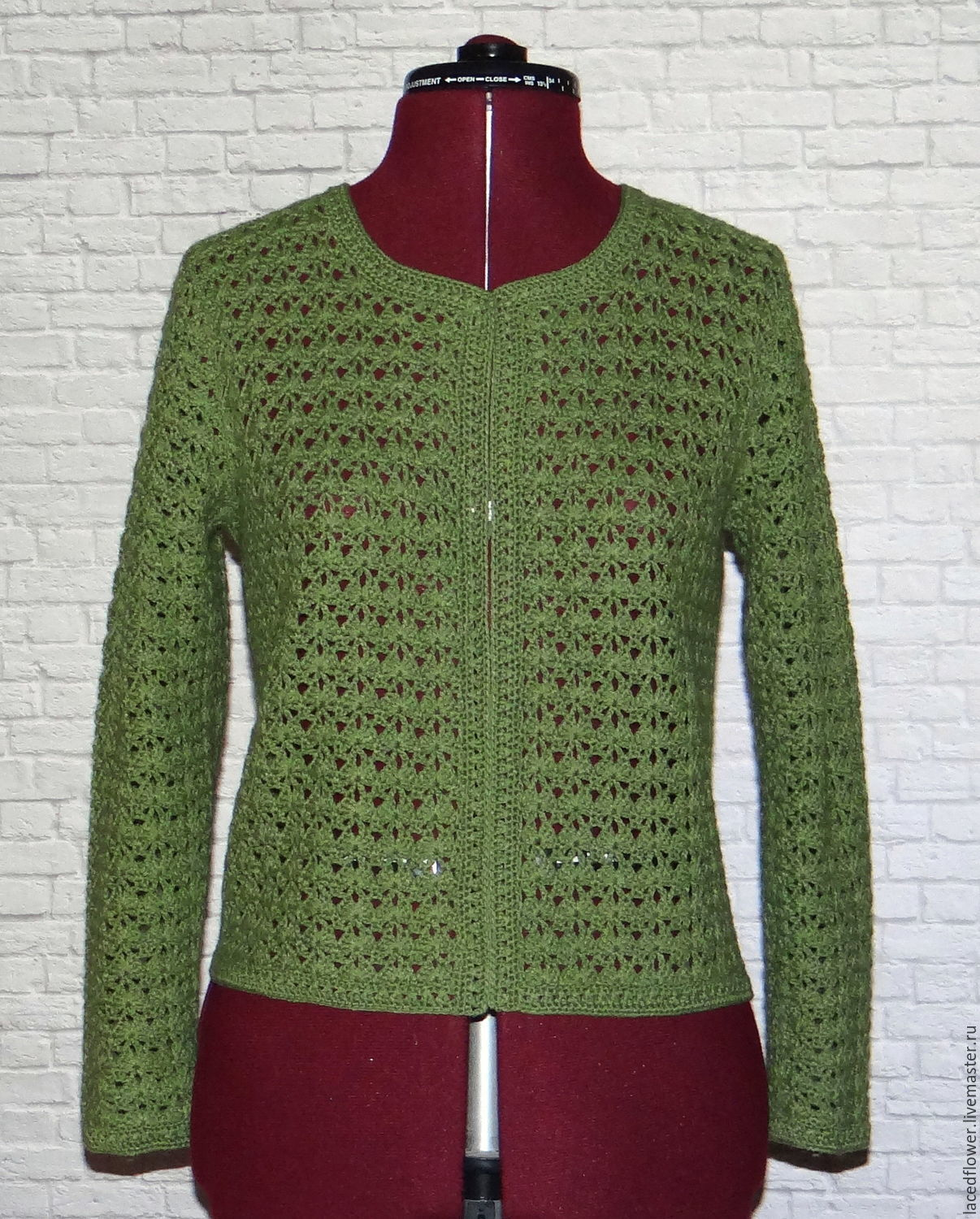 Jacket `Green olive` crocheted.100% handmade. Actual color, classic design.