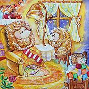 """Картины и панно ручной работы. Ярмарка Мастеров - ручная работа Картина акварелью """"Сказка про ежиков"""". Handmade."""