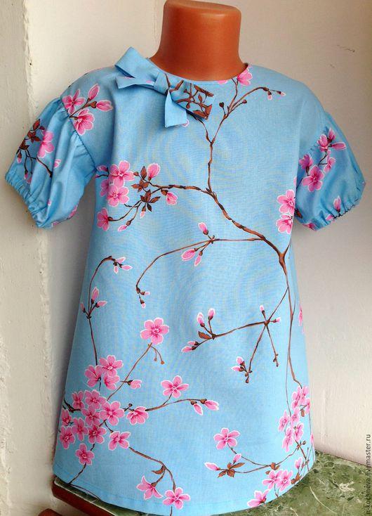 Одежда для девочек, ручной работы. Ярмарка Мастеров - ручная работа. Купить Платье и косынка-бандана с цветами сакуры. Handmade. Голубой