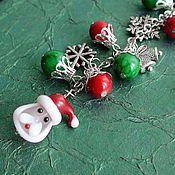 """Подарки к праздникам ручной работы. Ярмарка Мастеров - ручная работа Закладка  """"Дед Мороз"""" лэмпворк, коралл. Handmade."""