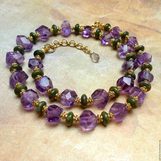 """Колье, бусы ручной работы. Ярмарка Мастеров - ручная работа. Купить Ожерелье """"Лаванда"""" с Аметистом (фиолетовый Аметист, зелёный Унакит). Handmade."""