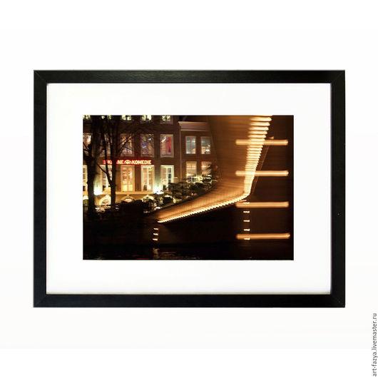 Фотокартины ручной работы. Ярмарка Мастеров - ручная работа. Купить Фотокартина в раме для интерьера. Ночной Амстердам 2. Handmade. Комбинированный