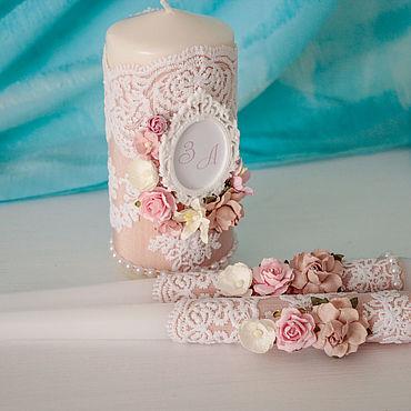 """Свадебный салон ручной работы. Ярмарка Мастеров - ручная работа Свадебные свечи """"Розовый лепесток"""". Handmade."""