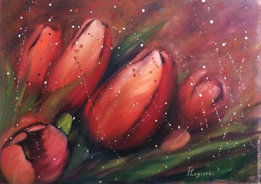 Картины цветов ручной работы. Ярмарка Мастеров - ручная работа. Купить Тюльпаны. Handmade. Комбинированный, красные тюльпаны, букет, модерн