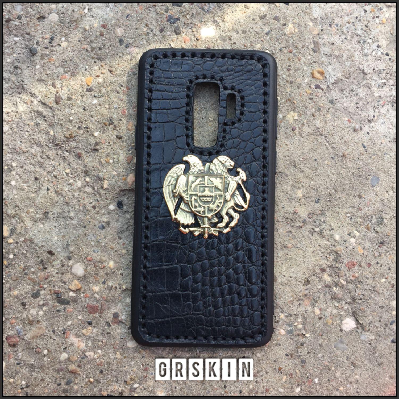 Кожаная накладка с гербом Армении на Samsung Galaxy s9plus, Чехлы, Москва, Фото №1