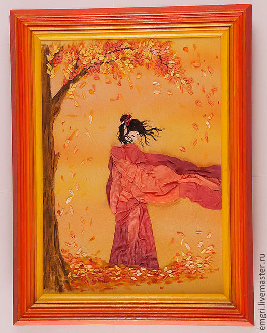 Люди, ручной работы. Ярмарка Мастеров - ручная работа. Купить Картина Осень. Handmade. Оранжевый, шелковые ленты, краски по ткани
