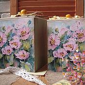 """Для дома и интерьера ручной работы. Ярмарка Мастеров - ручная работа Набор коробов """"Розовые маки"""", короб для хранения, акварель. Handmade."""
