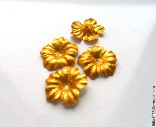 Аппликации, вставки, отделка ручной работы. Ярмарка Мастеров - ручная работа. Купить Вырубной лист цветка из ткани - золотистый. Handmade.