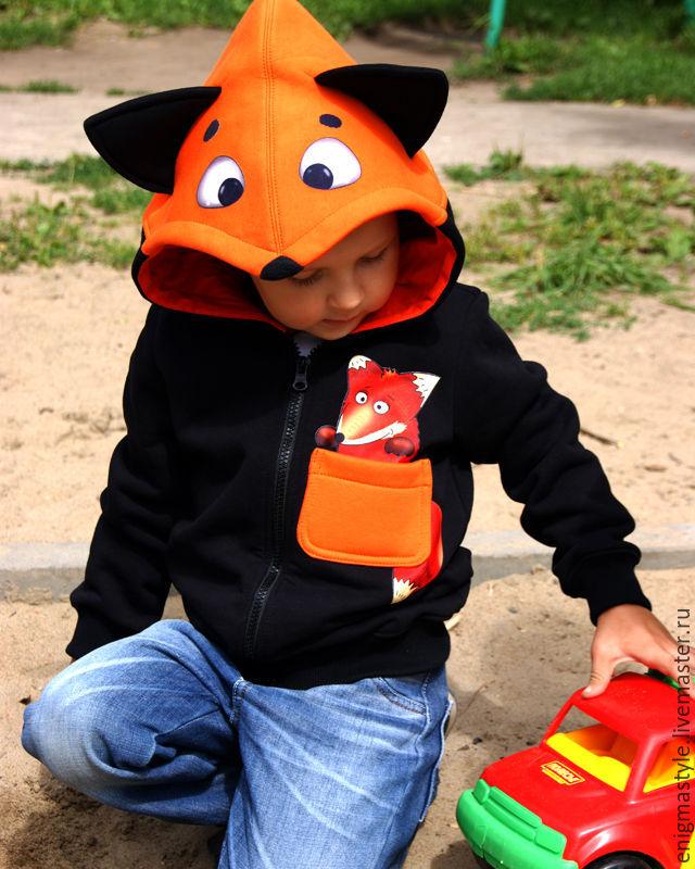 Детская толстовка с капюшоном Лис, толстовка с ушками, Кофты, Новосибирск, Фото №1