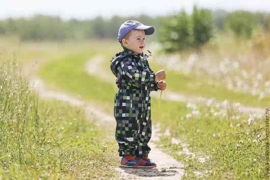 Одежда для мальчиков, ручной работы. Ярмарка Мастеров - ручная работа. Купить Комбинезон мембранный Зеленые клеточки. Handmade. Зеленый, Плащёвка