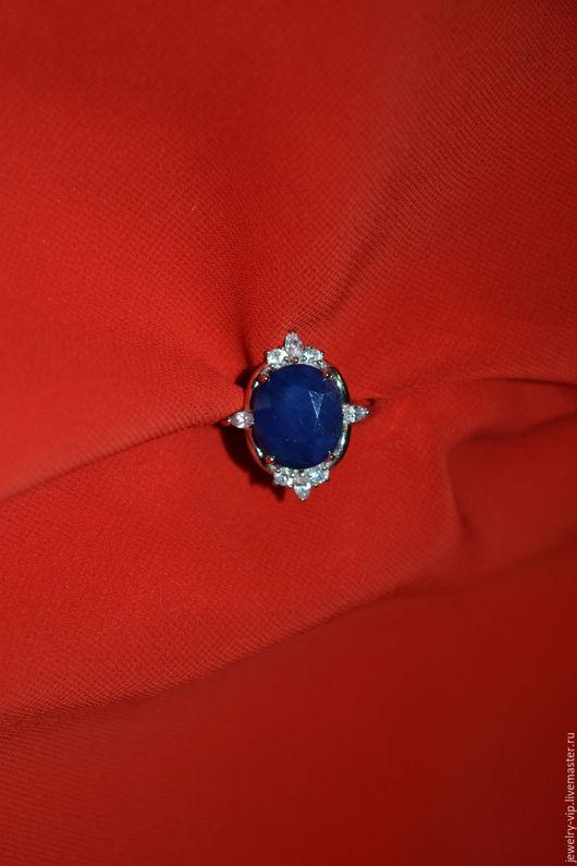 Кольца ручной работы. Ярмарка Мастеров - ручная работа. Купить Элегантное кольцо Баронесса - натуральный сапфир. Handmade. Тёмно-синий