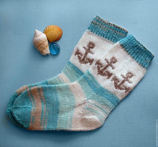 Носки, гольфы, гетры ручной работы. Ярмарка Мастеров - ручная работа. Купить Детские носки с якорем. Handmade. Разноцветный