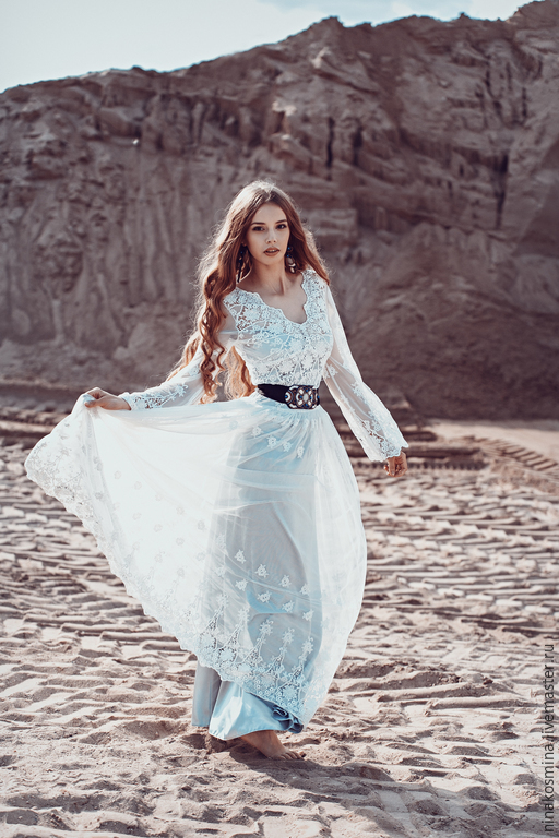 Одежда и аксессуары ручной работы. Ярмарка Мастеров - ручная работа. Купить Свадебное платье в Бохо стиле. Handmade. Белый