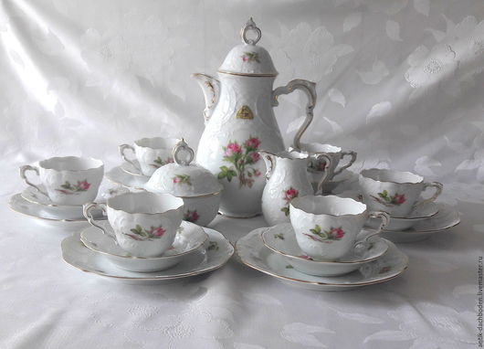 Винтажная посуда. Ярмарка Мастеров - ручная работа. Купить Нежный чайный сервиз, Lindner. Handmade. Комбинированный, Чайный сервиз, молочник