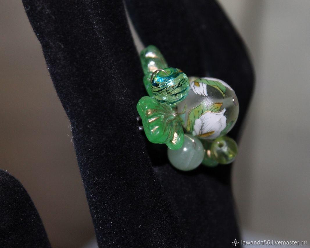 Ring with Japanese tensha bead. onyx of Calla, Rings, Krasnoyarsk,  Фото №1