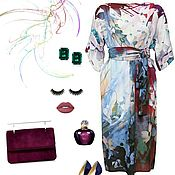 Одежда handmade. Livemaster - original item dress from staple blue burgundy flowers summer floral light. Handmade.