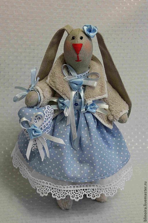 Куклы Тильды ручной работы. Ярмарка Мастеров - ручная работа. Купить зайка Анфиса. Handmade. Голубой, авторская работа
