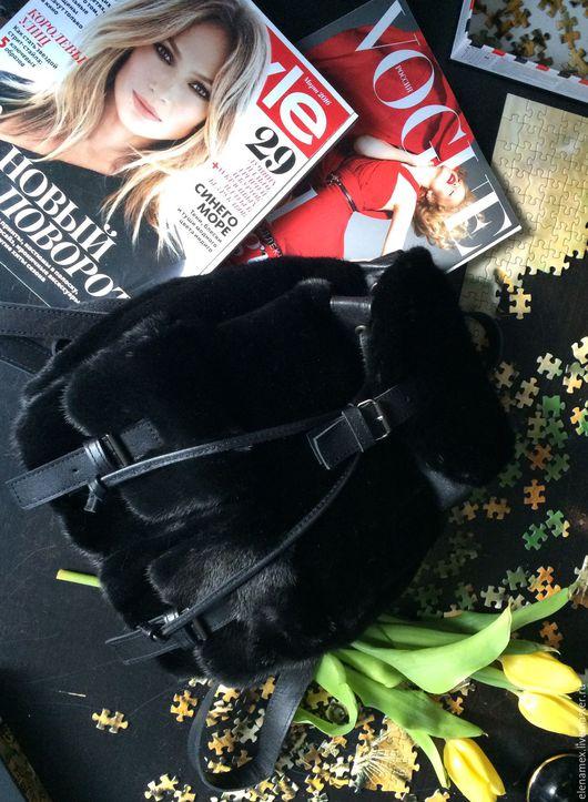 Верхняя одежда ручной работы. Ярмарка Мастеров - ручная работа. Купить Рюкзак из меха норки blackglama. Handmade. Черный, шубы