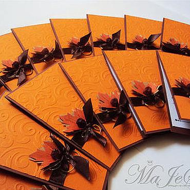 """Свадебный салон ручной работы. Ярмарка Мастеров - ручная работа Свадебные приглашения """"Осень"""". Handmade."""