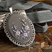 Украшения handmade. Livemaster - original item Embroidered pendant Seven shades of grey. Handmade.