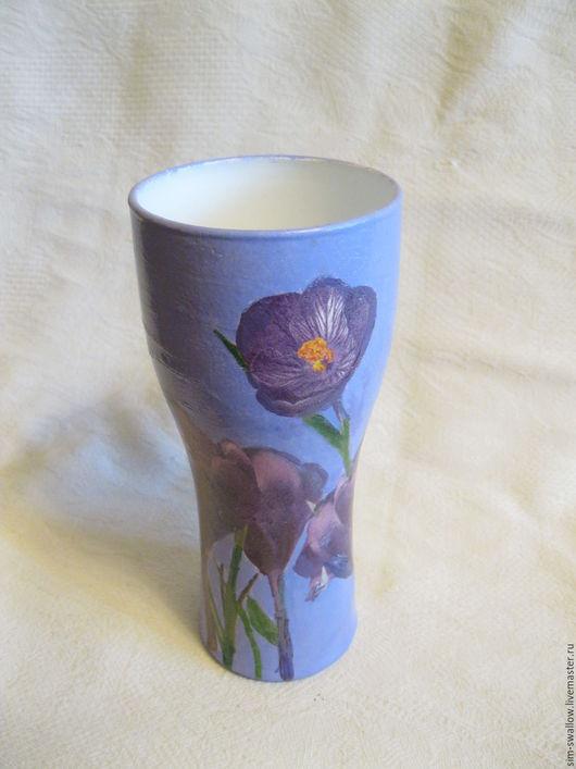 """Вазы ручной работы. Ярмарка Мастеров - ручная работа. Купить Ваза """"Крокус лилак"""". Handmade. Фиолетовый, цветы, кракелюр, для камина"""