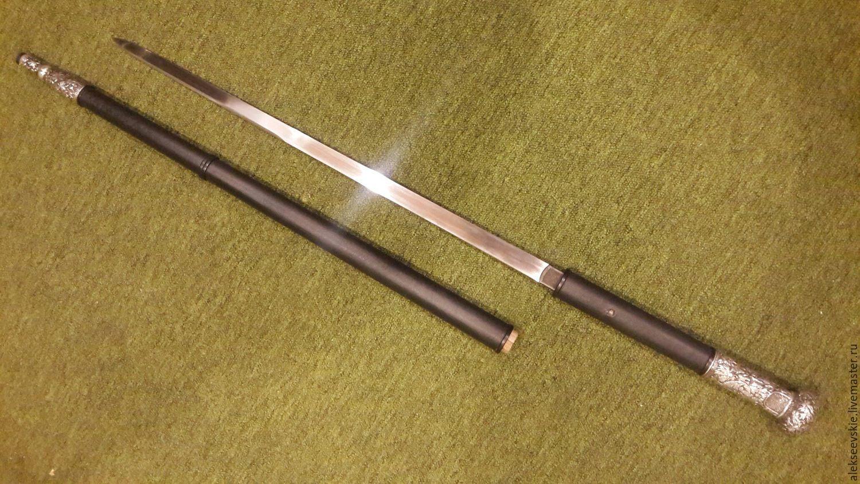 Купить Трость с клинком в серебре - трость, меч, катана, серебряный, трость ручной работы