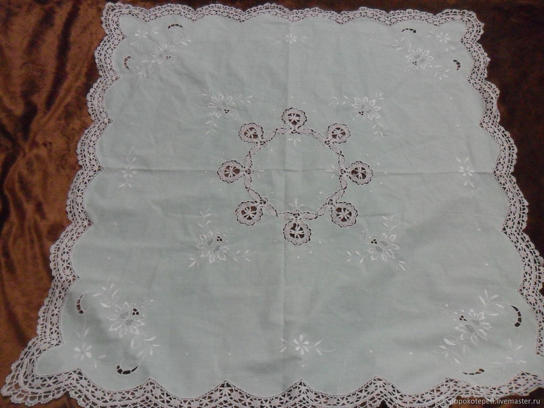 Tablecloth with embroidery and bobbin lace,vintage Austria, Vintage interior, Novorossiysk,  Фото №1