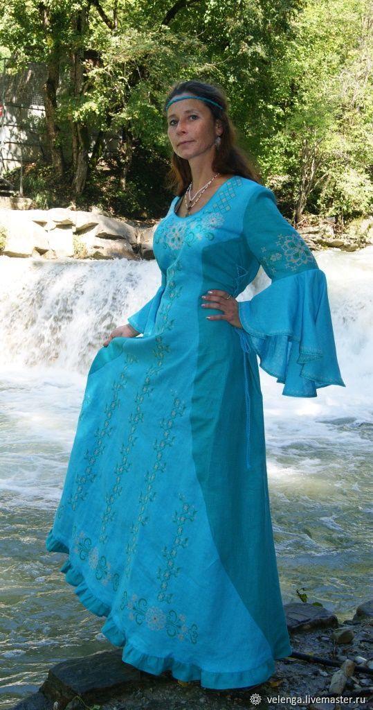 16dd374342c Заказать Вечернее платье из льна с вышивкой Наяда. Веленга (Славянский ...