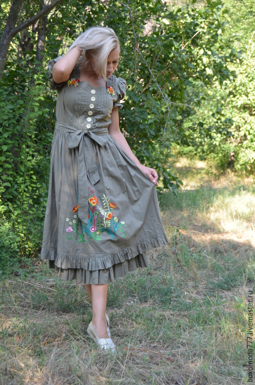 Платья ручной работы. Ярмарка Мастеров - ручная работа. Купить платье бохо ЛЕТО. Handmade. Хаки, для девушек, батист, пуговицы