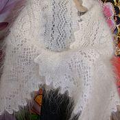 Аксессуары handmade. Livemaster - original item Downy tippet scarf - knit white goat down. Handmade.