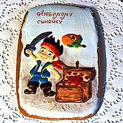 """Сувениры и подарки ручной работы. Ярмарка Мастеров - ручная работа Пряник имбирный расписной """"Юный пират"""" овал большой. Handmade."""