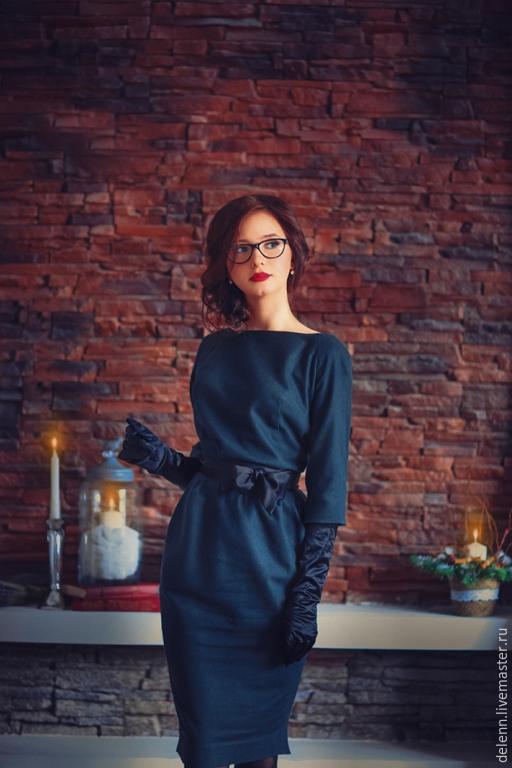 Платья ручной работы. Ярмарка Мастеров - ручная работа. Купить Одри. Handmade. Однотонный, благородный, тёмно-зелёный, синий, черный
