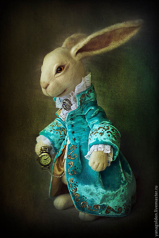 Сказочные персонажи ручной работы. Ярмарка Мастеров - ручная работа. Купить Белый кролик.. Handmade. Тёмно-бирюзовый, белый кролик