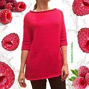Одежда handmade. Livemaster - original item Raspberry cocoon sweater, knitted, mercerized cotton. Handmade.