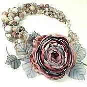 Украшения handmade. Livemaster - original item Cloudy - Powdery Morning. Necklace and brooch - flower. Handmade.