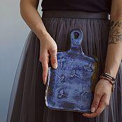 Доски ручной работы. Ярмарка Мастеров - ручная работа Доска сервировочная керамическая синего цвета. Handmade.