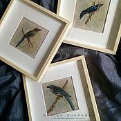 Картины ручной работы. Ярмарка Мастеров - ручная работа Картины: Лесные красавицы птицы синий голубой зеленый. Handmade.