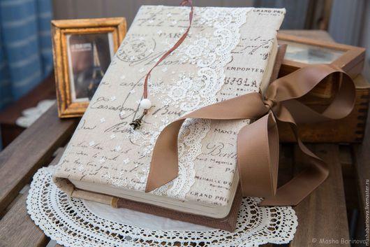 Блокноты ручной работы. Ярмарка Мастеров - ручная работа. Купить Окно в Париж. Handmade. Коричневый, винтажный стиль, льняная ткань