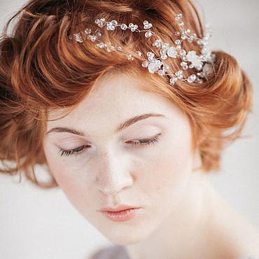 Свадебный салон ручной работы. Ярмарка Мастеров - ручная работа Свадебный венок из хрусталя для волос. Венок на голову для невесты. Handmade.