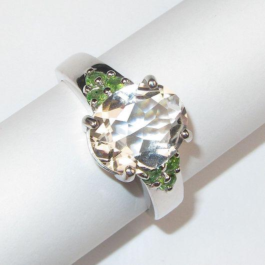 Кольца ручной работы. Ярмарка Мастеров - ручная работа. Купить Кольцо с аметистом зелёным серебряное. Handmade. Мятный, зеленый камень