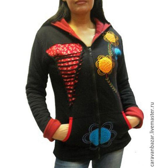 Этническая одежда ручной работы. Ярмарка Мастеров - ручная работа. Купить Куртка толстовка на флисовой подкладке этностиль. Handmade. Черный