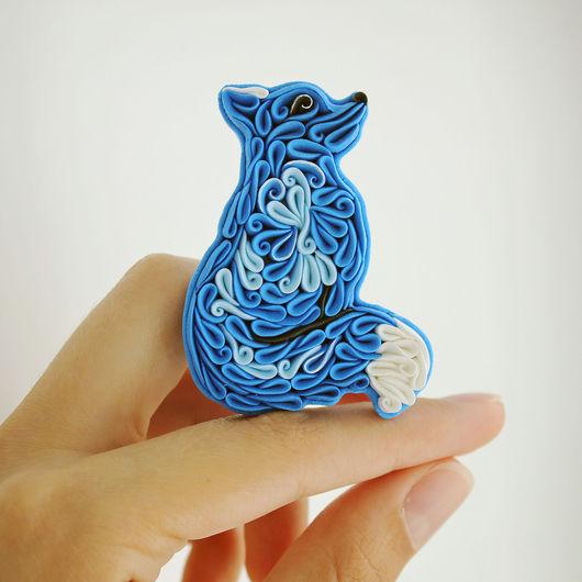 Броши ручной работы. Ярмарка Мастеров - ручная работа. Купить Брошь Синий лис из полимерной глины. Handmade. Синий