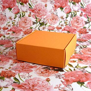 Материалы для творчества ручной работы. Ярмарка Мастеров - ручная работа 9х9х3,5 - коробки оранжевые c откидной крышкой, 100 штук. Handmade.